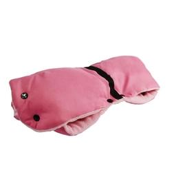 Mufka ocieplana rękawica wózek sanki gruba różowa