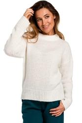 Ecru Klasyczny Sweter z Długim Rękawem