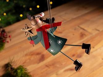 Ozdoba świąteczna na choinkę  zawieszka choinkowa metalowa altom design renifer na sprężynie