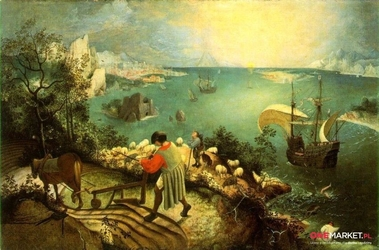 pejzaż z upadkiem ikara - pieter brueghel starszy  ; obraz - reprodukcja