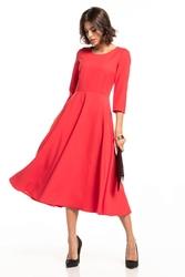 Sukienka maxi z zamkiem krytym t327 malinowy