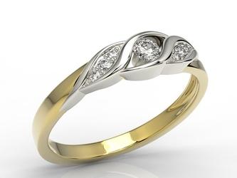 Pierścionek z żółtego i  białego złota z diamentami ap-51zb