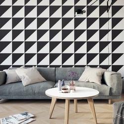 Trójkąty black amp; white - tapeta designerska , rodzaj - tapeta flizelinowa