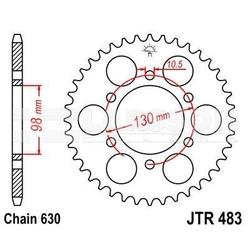 Zębatka tylna stalowa jt 483-33, 33z, rozmiar 630 2300066 kawasaki z1 900