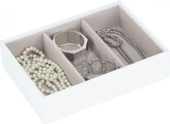 Szkatułka na biżuterię stackers 3 komorowa classic biało-beżowa