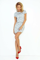 Szara sukienka prosta mini z suwakami
