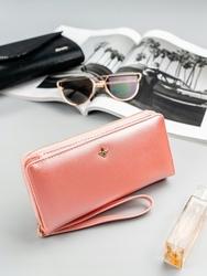 Pojemny portfel damski na zamek różowy milano design - różowy