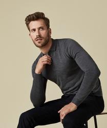 Elegancki sweter polo z długimi rękawami w kolorze antracytu s