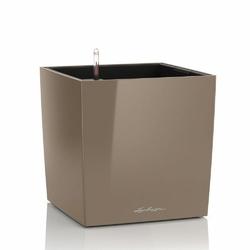Donica lechuza cube 40 - taupe kawa z mlekiem - 40x 40 x 40 cm, połysk - kawa z mlekiem