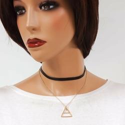 CHOKER podwójny CZARNO-ZŁOTY trójkąt - złoty