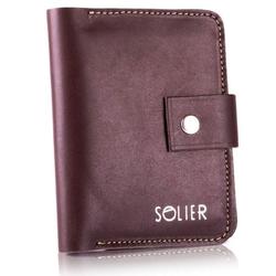 Skórzany cienki męski portfel z miejscem na monety solier sw17 brązowy vintage - brązowy vintage
