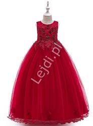 Długa suknia wieczorowa dla dziewczynki w kolorze czerwonego wina 212