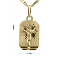 Złoty medalik z jezusem chrystusem pr. 585 grawer