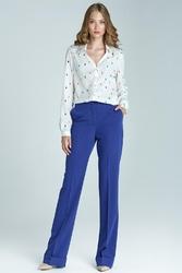 Niebieskie eleganckie długie spodnie z mankietem