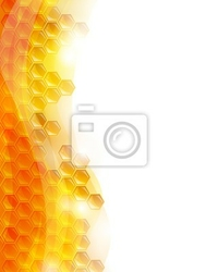 Naklejka tło vector plastrach miodu, pszczoły