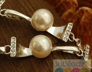 Abertis - srebrna bransoletka perły i kryształki