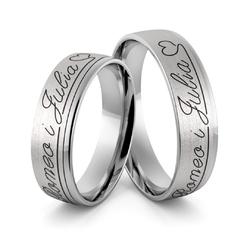 Obrączki srebrne z imionami sercem i czarną emalią - wzór ag-373