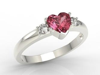 Pierścionek z białego złota z czerwonym topazem w kształcie serca i cyrkoniami jp-90b-c - białe  topaz red