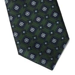 Zielony jedwabny krawat hemley w kwiaty i wzór długi