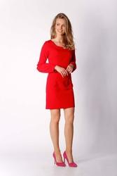 Czerwona Klasyczna Mini Sukienka Dzienno-wizytowa