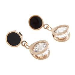 Kolczyki złote stal szlachetna czarne kryształki - złote