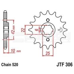 Zębatka przednia jt f306-15, 15z, rozmiar 520 2200417 honda nx 650