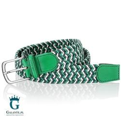 Zielony pleciony pasek do spodni miguel bellido 995-35-8886-12-007