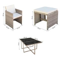 Zestaw ogrodowy stół + krzesła 10 osób borto beżowy