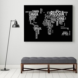 Typograficzna mapa świata - obraz designerski , wersja - na czarnym tle, wymiary - 100cm x 150cm