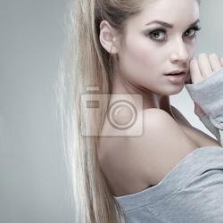 Obraz portret whiteheaded młoda kobieta z pięknym niebieskie oczy