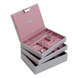 Pudełko na biżuterię, potrójne szaro-różowe classic stackers