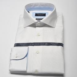 Elegancka biała koszula męska taliowana slim fit z błękitnymi wstawkami 46