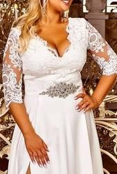 Kryształkowy ozdobny pasek do sukni wieczorowej - biały