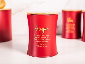 Puszka  pojemnik na cukier z pokrywą bambusową altom design czerwony, dek. sugar