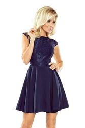 Granatowa sukienka koktajlowa z koronkową górą