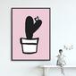 Pink cacti - plakat dla dzieci , wymiary - 40cm x 50cm, kolor ramki - biały