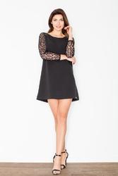 Czarna trapezowa mini sukienka z koronką