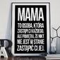 Mama jest niezastąpiona - plakat typograficzny w ramie , wymiary - 30cm x 40cm, kolor ramki - czarny