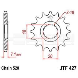 Zębatka przednia jt f427-12, 12z, rozmiar 520 2201626 suzuki rm 125