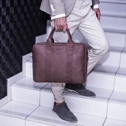 Skórzana torba męska na laptopa brodrene bl01 ciemnobrązowa - c. brązowy