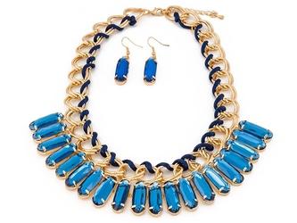 Naszyjnik kolczyki slides blue - blue