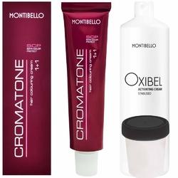 Montibello cromatone zestaw do koloryzacji włosów farba 60ml + oxydant 60ml 1 czarny oxibel 12,5 vol 3,75