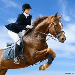 Obraz na płótnie canvas czteroczęściowy tetraptyk skoczek jeździecki - młoda dziewczyna skacząca z koniem szczawiowym