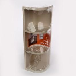 Półka łazienkowa artgos narożna potrójna  trzypoziomowa beżowa