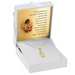 Złoty medalik z matką boską w kształcie łzy pr. 585 pamiątka chrzest komunia bierzmowanie grawer niebieska kokarda - białe z niebieską kokardką