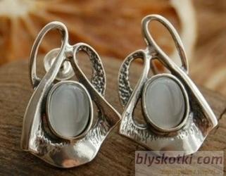 Lobelia - srebrne kolczyki z kocim okiem