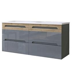 Podwójna szafka łazienkowa z umywalką Mona 120 cm szara