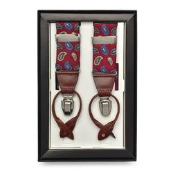 Jedwabne czerwone szelki męskie do spodni uniwersalne na guziki i klipsy we wzór paisley