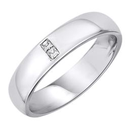 Staviori obrączka. 2 diamenty, szlif princessa, masa 0,05 ct., barwa h, czystość si2. białe złoto 0,585. szerokość 4 mm. grubość 1,5 mm.  dostępne inne kolory złota.