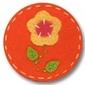 Filcowa gumka żółty kwiatek na pomarańczowym tle